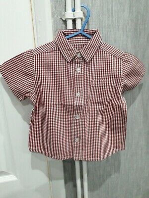 Baby Boys 9/12mth Red Check Short Sleeve Shirt Mothercare
