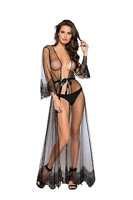 Roma Elegant LS Sheer & Lace Maxi Robe LI255/256 ~ Black or Nude