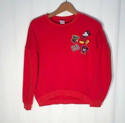 Disney Women's (Size Small) Mickey Mouse Retro Red Sweatshirt With Patches
