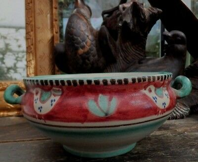Vintage Faience Italian Hand Painted Birds Dish Pasta  Risotto Earthenware