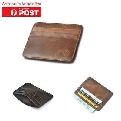 Men's Genuine Leather Credit Card Holder Money Slim Wallet With 7 Card Slots AU