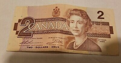 Canadian $2 Two Dollars Bill Note - 1986