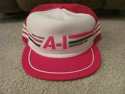 Northern A-1 Services Inc. Mesh Hat Snapback Red 3 Stripe Vintage