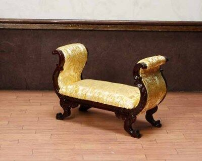 """Mahogany Gold Settee MUSEUM QUALITY DOLLHOUSE FURNITURE 1:12 or 1"""" Scale BESPAQ"""