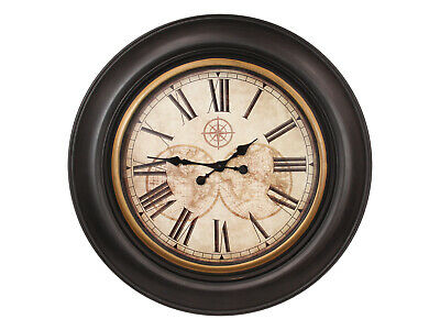 New 1pce 76CM Antique World Map Clock with Compass Motif and Roman Numerals