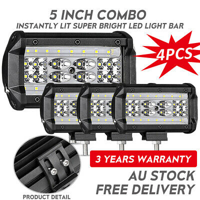 4x 5inch CREE LED Work Light Bar Spot Flood OffRoad Fog Driving 4WD 4x4 Reverse