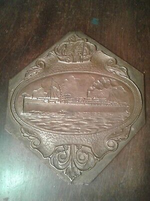 BRASS Embosser PRINTING Block  Proof.  Ship  passenger steamer Nautical  n52