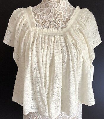 72df13ce197 FREE PEOPLE TOP Thrill & Frills Open Knit Size:L Off-The-Shoulder ...
