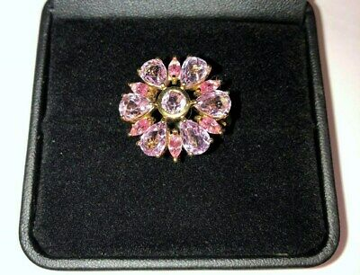 Kunzite and Pink Sapphire 9ct Yellow Gold Ring with valuation certificate