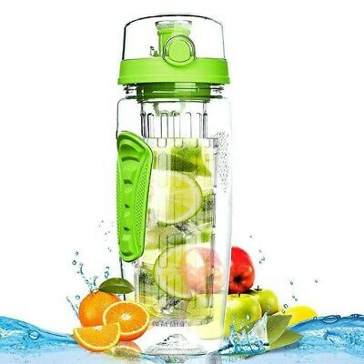 Aquafrut 32oz Fruit Infuser Infusion Flavor Water Bottle Green USA Seller