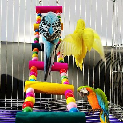 Parrot Birds Pet Perch Stand Play Fun Toys Ladder Climbing Gym Wooden Toy Rope
