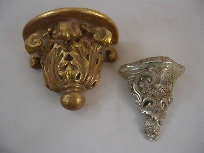 Pair Mismatched Ornate Wall Bracket Shelf Victorian French Grand Tour Style Gold