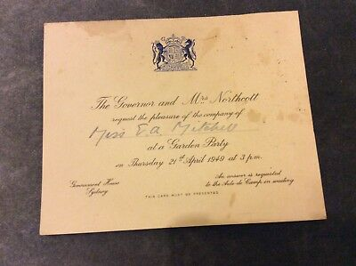 Government House Garden Party Invitation - Australia- 1949