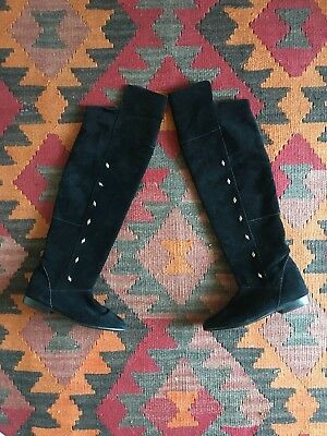 Vintage 80's Over the Knee Suede Studded Boho Festival Flat Boots