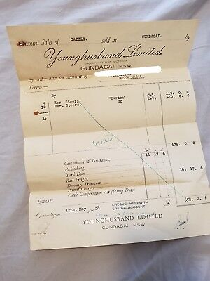 Sale of Cattle Receipt - Younghusband Limited, Gundagai - 1958
