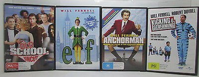Old School | Anchorman | Elf | Kicking & Screaming Will Ferrell 4 DVD Bundle