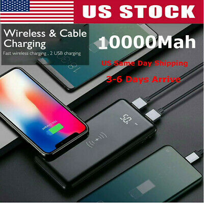 Power Bank 10000mAh LCD Qi Wireless Charger Portable Polymer External Battery