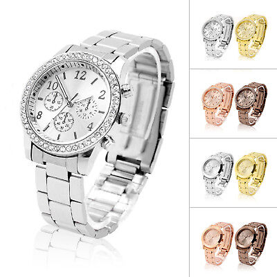 Women Girl Analog Quartz Wrist Watches Fashion Stainless Steel Crystal Watch