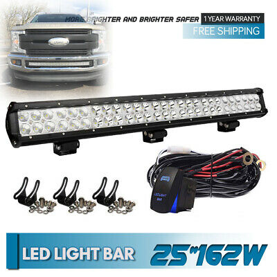 Dual-Row 24/25inch 162W Led Light Bar Flood Spot For Truck Jeep Ford Driving 4WD