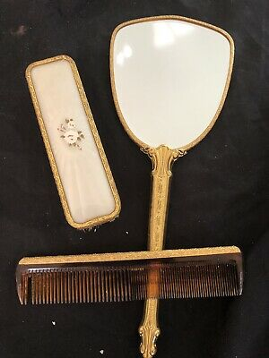 Mirror, Brush And Comb Set For Dressing Table - Comb Has Some Teeth Missing Vg C