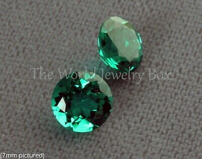 Round Faceted GENUINE CHATHAM CREATED EMERALD Loose Gemstone