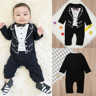 9b1260ad4934a Kids Baby Boys Formal Suit Party Wedding Tuxedo Gentleman Romper Jumpsuit  Outfit
