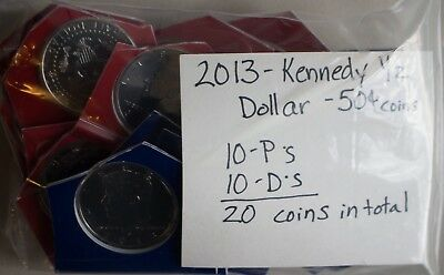 20 Coin Lot 2013 P and D Kennedy Half Dollar Coins from US Mint Sets Twenty 50c