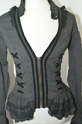 09c51060cd81 EUC Spin Doctor Black Corset Lace Velvet Striped Steam Punk Gothic Rock  Womens M