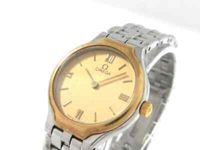 Auth OMEGA De Ville Gold Silver Stainless Steel 54615981 Womens Wrist Watch