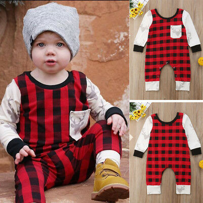 Infant Baby Boy Girl Romper Long sleeve Pants Checked Outfits Clothes Set Cotton