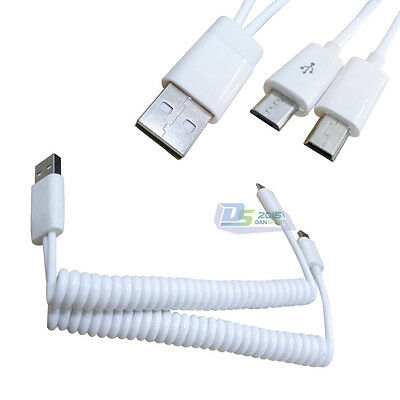 USB Type A to Micro USB +Mini USB Spring Coiled Power Charger Data Cord Cable