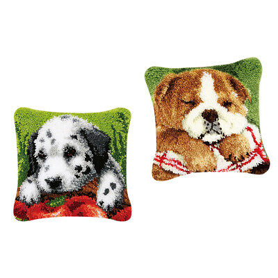 2pcs DIY Latch Hook Kits for Beginners Pillow Cover Case Animal Cushion Dogs