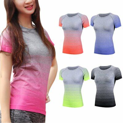 Women Quick-dry Short Sleeve Fitness Gym Sports Running Yoga T-Shirt Active Tops