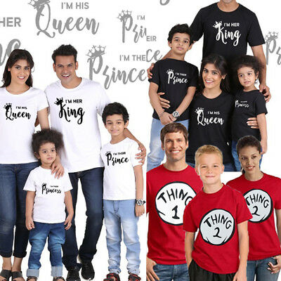King and Queen Prince Princess  Matching Family T Shirts Tee Couples Brand New
