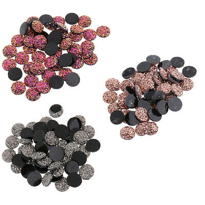 12mm 150 Mixed Drusy Resin Flat Back Dome Cabochon Round DIY Jewelry Finding