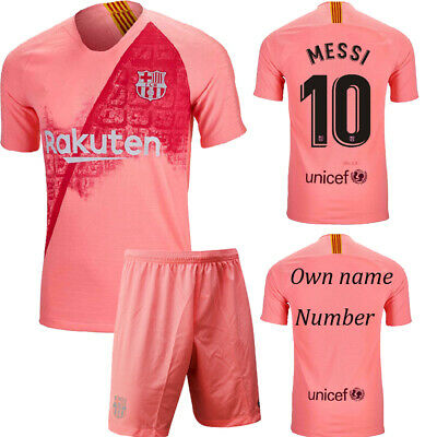 18-19 Football Kits MESSI Soccer Short Sleeve Jersey For Adult And Kids 3-14 Y