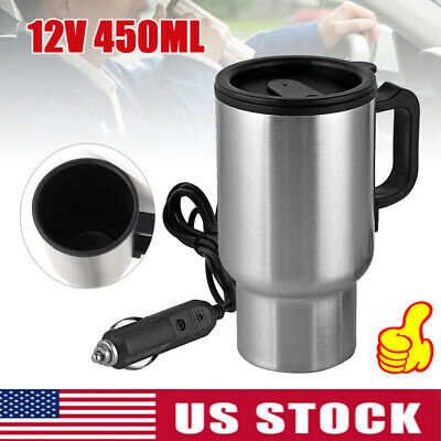 fc0c838cac6 USA 12V ELECTRIC Heated Travel Mug Stainless Steel Coffee Tea Cup Warmer  In-car