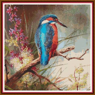 "'KINGFISHER BY A RIVER' Cross Stitch Pattern (15¾""x15¾"") Birds/Detailed/Flowers"