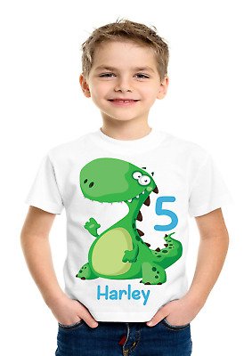 Boys Girls Cute Dinosaur Birthday Personalised t-shirt Any name,Any number