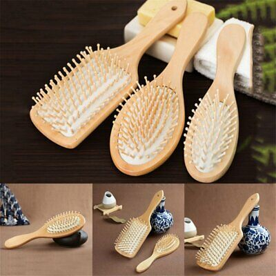 Bamboo Wooden Hair Brush Anti-Static Oval Head Meridian Massage Combs EA