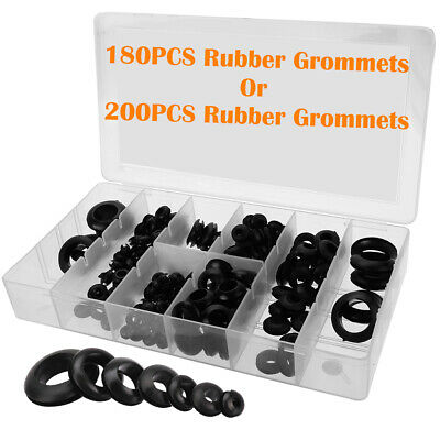 180/200pc Rubber Grommets Assortment Set Open Blanking Hole Wiring Cable Gasket