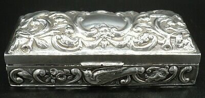 Victorian Solid Silver Repousse Dressing Table Box By William Comyns London 1896