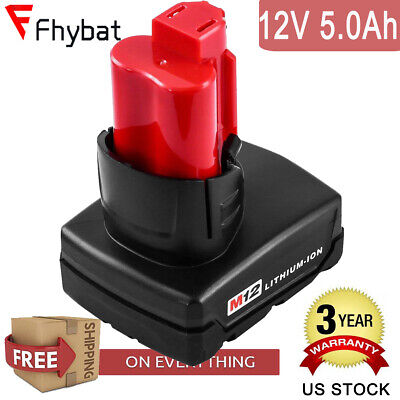 12 Volt for Milwaukee M12 48-11-2440 Red XC 5.0Ah Lithium Ion Battery US Stock