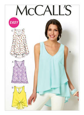 McCall's Sewing Pattern M6960 6960 Misses 4-14 Easy V-Neck Tops Tunics Shirts