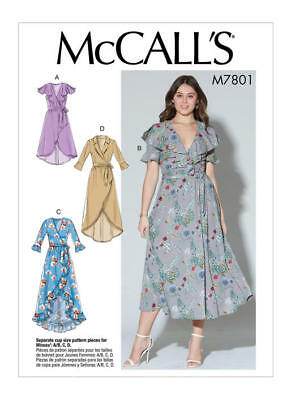 McCall's Sewing Pattern 7801 Misses 6-14 Easy Wrap Dresses and Belt inc Maxi