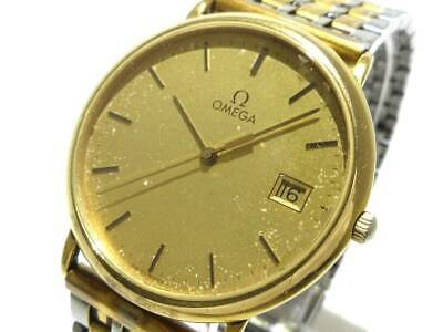 Auth OMEGA De Ville Gold Silver Stainless Steel Mens Wrist Watch