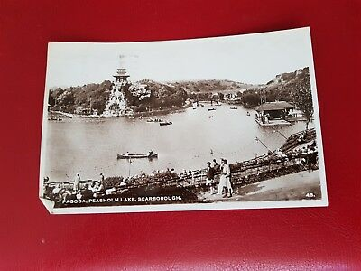 Vintage Real Photo Postcard - Pagoda, Peasholm Lake, Scarborough - Used