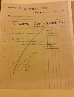 National Cash Register Co Invoice - Hordern and Sons - 1920