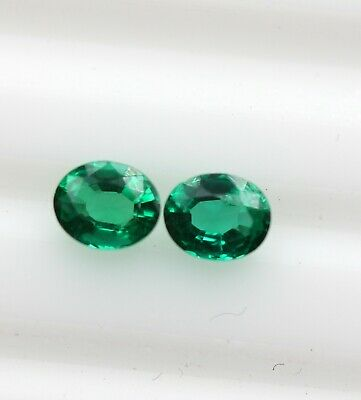 0.67 Ct Natural Emerald Loose Oval Cut Pair Loose For Earring Rich Green Color