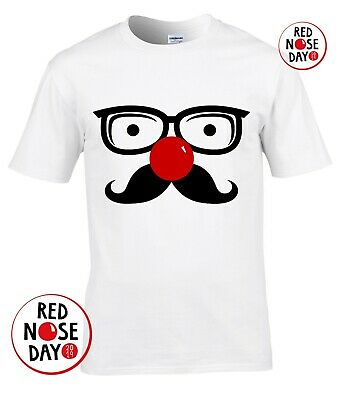 Comic Relief Red Nose Day FUNNY Glasses Mustache Men t Shirt 10% Charity